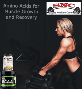 female lifter with amino acids